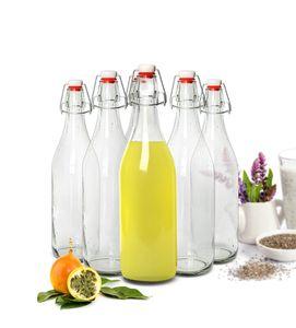 Glasflasche mit Bügelverschluss 1000ml Trinkflasche Drahtbügelflasche Ölflasche 2-12 Stück(6 Stück)