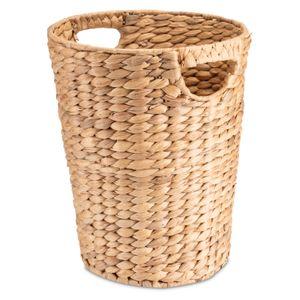 Decorasian Papierkorb, geflochten aus Wasserhyazinthe / Seegras – rund, 25 cm Durchmesser - nachhaltiges Material, Abfallkorb, Abfalleimer, Mülleimer