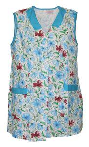 7/8 Kasack kurz Kittel Schürze Blumen ohne Arm Baumwolle bunt, Größe:42, Modell:Modell 2