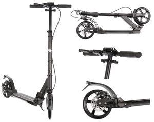 Roller Kickscooter Tretroller Cityroller ABEC9 Gummiräder Höhenverstellbar 10285, Farbe:Schwarz/ black