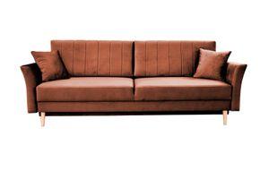 Sofa NELLY - Schlafsofa im Skandinavisch Stil für Wohnzimmer mit Bettkasten Velour