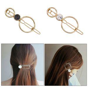 2 Stück Geometrische Haar Clips Haarspangen Haarclips Haarnadeln Haarklammern Pferdeschwanz Inhaber mit Türkis für Frauen, Mädchen