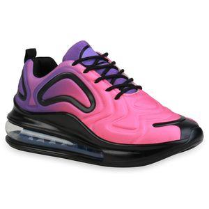 Giralin Damen Plateau Sneaker Keilabsatz Schnürer Transparente Schuhe 836349, Farbe: Schwarz Lila Neon Pink, Größe: 40