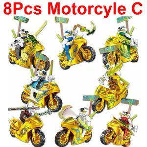 CUIFULI 8 Stückt Golden Motorcycle Ninjago Mini Figuren Bausteine Sonstige Spielzeugfiguren Kinderspielzeug