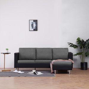 dereoir 3-Sitzer-Sofa mit Kissen Schwarz Kunstleder
