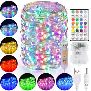 10m 100 LEDs Bunt Lichterkette Außen & Innen Deko Kupferdraht Lichter mit Fernbedienung