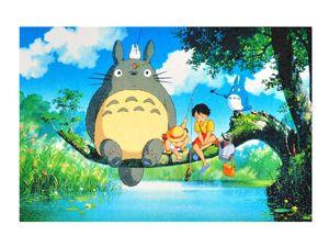 Totoro Puzzle mit 1000 Teilen   75x50cm   Motiv: Totoro am Fluß