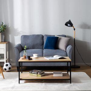 Couchtisch Wohnzimmertisch mit Regal Metallrahmen, Vintage Holzdesign, 100 × 50 × 44 cm