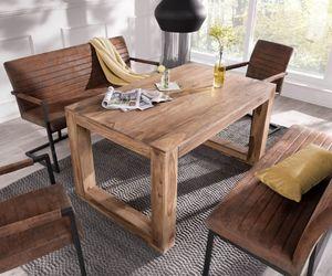 Esszimmergruppe Indra Sheesham Natur 140x90 cm mit 2 Stühle + 2 Essbänke
