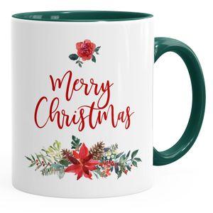 Tasse Weihnachten Merry Christmas Blumen Weihnachtsstern Christstern Teetasse Kaffeetasse Autiga® grün unisize