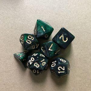 7 Stk Sternenhimmel polyedrische Würfel für DND RPG MTG Rollentischspiel,Farbe: Schwarz Grün