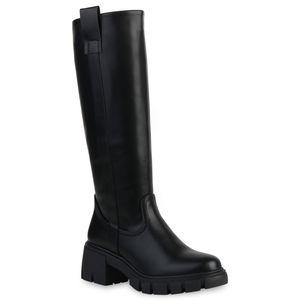 VAN HILL Damen Klassische Stiefel Plateau Vorne Profil-Sohle Schuhe 837676, Farbe: Schwarz, Größe: 39