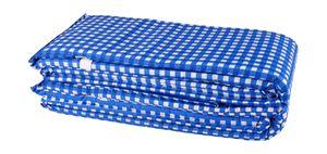 Bierbankauflagen-Set 3tlg. Bierzeltgarnitur Sitzauflagen Tischdecke Sitzpolster, Farbe:blau kariert