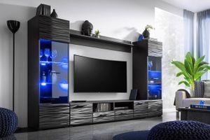 Mirjan24 Wohnwand Modica, Mediawand mit Beleuchtung, Stilvoll Anbauwand (Farbe: Schwarz / Sahara Hochglanz)