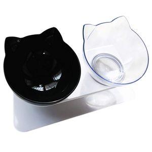 Doppelter   Katzennäpfe - 15° Futternapf Katzen,Rutschfeste Futterschüssel Hundenapf Schräg Doppelschüssel Anti-erbrechen-katzenschüssel für Katze Welpe(Schwarz+Transparent)