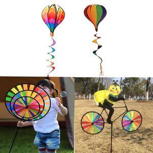 4 Sets Mehrfarbig 3D DIY Windmühle Windrad Windspiel Heißluftballon, Kinder Outdoor Spielzeug, Deko für Camping Hof Ballon Garten Party Festival