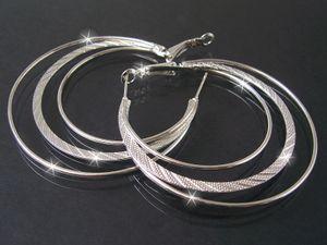 Damen Ohrringe Silber Creolen 3-lagig 5,5cm Modeschmuck O2148