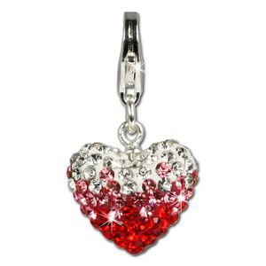 SilberDream rot Charm Herz Swarovski Elements 925 Silber Charms-Anhänger GSC002