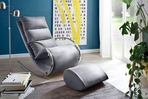 Relaxsessel mit Hocker York Stoff Grau Gestell Chrom