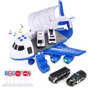 Polizei Flugzeug Auto Spiel Spielzeug Set Flugzeug Spielzeug für Jungen Mädchen Kinder, Blau