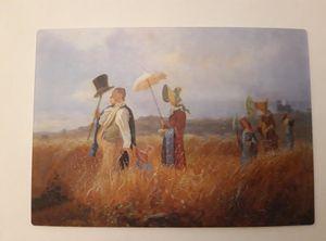 3 D Ansichtskarte Gemälde, Sonntagsspaziergang, Carl Spitzweg, Kunst Bild Postkarte Wackelkarte Hologrammkarte
