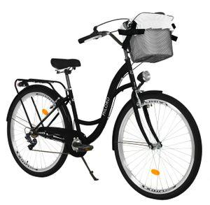 Milord Komfort Fahrrad Mit Korb Damenfahrrad, 28 Zoll, Schwarz, 7 Gang Shimano