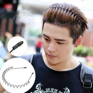 Schwarz Metall Sports Haarband Stirnband Welle Stil für Männer/Damen Re-