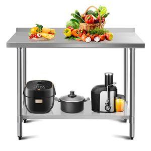 COSTWAY Arbeitstisch Edelstahl Kuechentisch Gastro Tisch Edelstahltisch Zubereitungstisch mit Zwischenbord (122 x 61 x 90 cm / 48x24)