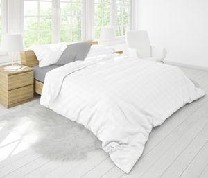 P.K. Collection Brokat Damast Karo Bettwäsche 135x200/80x80 100% Baumwolle YKK Reißverschluss-silber