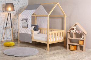 Kinderbett Jugendbett Holz Haus  mit Dach  160x80 und 180x80 Clamaro, Bettgröße:180 x 80 cm