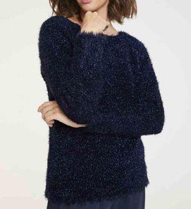 HEINE Damen Flausch-Pullover, marine, Größe:38