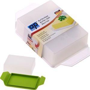 Butterdose, Größe: 16,5 x 9,2 x 4,3 cm, transparenter Deckel, farbiger Untersatz, aus Kunststoff 1 aus 2 Varianten