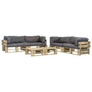 Balkonmöbel Set für 6 Personen, 6-TLG. Garten-Lounge-Set/Sitzgruppe/Gartengarnitur Paletten Graue Auflagen Holz☆5997