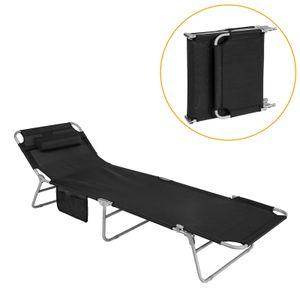 SoBuy® Sonnenliege Relaxliege mit Seitentasche,Strandliege,OGS35-SCH