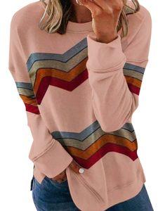 Damen Herbst Winter Langarm Streifen Blusen Casual Loose T-Shirts,Farbe: Pink,Größe:M