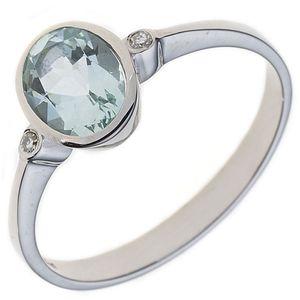 JOBO Damen Ring 585 Gold Weißgold 1 Aquamarin 2 Diamanten 0,02ct. Goldring Größe 58