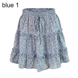 Summer Beach Frauen Bohemian Flower Print Rueschen Hohe Taille A Line Minirock Blau 1 XL