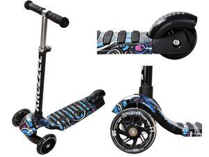 Kinderroller Tretroller Kickscooter Dreiradscooter Leuchträder Höheverstellbar 10282, Farbe:Schwarz/ black