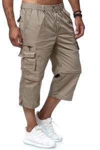 Herren Cargo Shorts Kurze 3/4 Freizeit Capri Hose Seitentaschen Bermuda Trekking Pants Kürzbar mit Zipper, Farben:Beige, Größe Shorts:XXL
