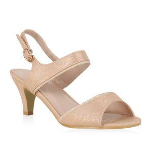 Mytrendshoe Damen Sandaletten Riemchensandaletten Glitzer Party Schuhe 830153, Farbe: Rose Gold, Größe: 38
