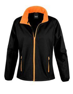 Ladies Soft Shell Jacke - Wasserabweisend - Farbe: Black/Orange - Größe: XL