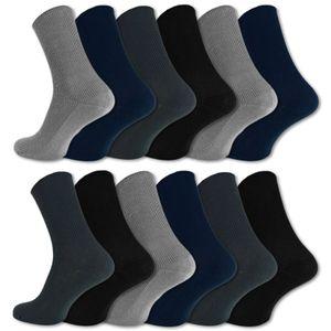 12 Paar Socken ohne Gummidruck 100% Baumwolle Damen & Herren Diabetiker Socken - Schwarz/ Blau/ Grau 43-46