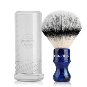 Rasierpinsel Vegan mit Reisedose für Rasierpinsel Classic Silvertip Fibre Harzgriff Anbbas Größe Shaving Bürste (Knot 24mm) (Blau)