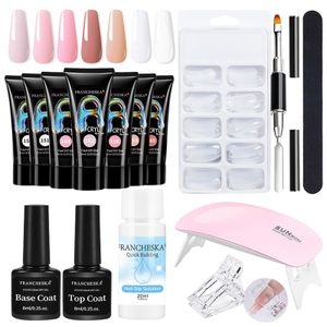 Nagelset Nagelverlängerung, Nägel Nagellack Set mit 7 Farbe Verlängerungskleber Polygel Set Gel Starter Kit mit UV+ LED Nagellampe