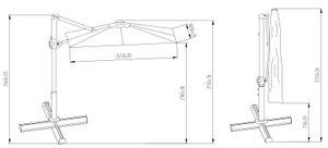 SORARA ROMA Basic Sonnenschirm Ampelschirm   Grau   250 x 300 m (2.5 x 3m)   Rechteckig   Kurbel Mechanismus