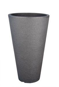 BigDean Pflanzkübel in Stein-Optik - 70 x 40 cm - 50 Liter - hoher Blumenkübel in Anthrazit - rund