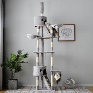 PURLOVE Kratzbaum 240-260cm Kätzchen-Aktivitätsturm Kratzbäume mit Ruheraum und Kratzsäule, Haustiernest, deckenhoch und stabil, Grau