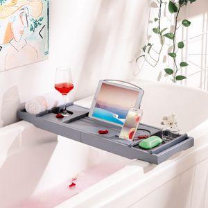 SONGMICS Badewannenablage 75-109 x 4,5 x 23 cm Badregal aus Bambus ausziehbare Badewannenauflage Badewannenbrett Grau BCB88GY