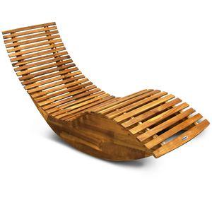 Casaria Schwungliege FSC®-zertifiziertes Akazienholz Ergonomisch Wippfunktion Gartenliege Sonnenliege Relaxliege Saunaliege