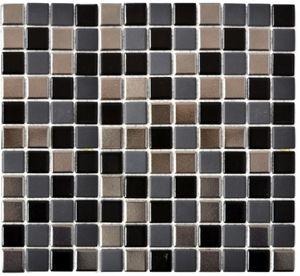 Mosaikfliese Keramik schwarz silber anthrazit chrome Küchenrückwand MOS18-0317_f   10 Mosaikmatten
